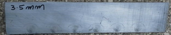 3.5mm aluminum edge weld, front view