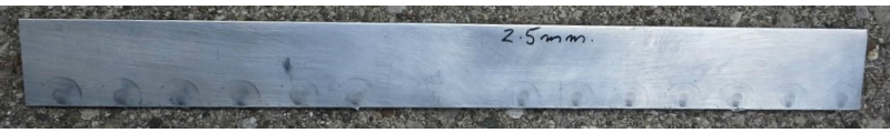 2.5mm aluminum edge weld - front view